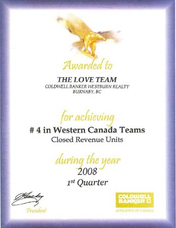 #4 Western Canada Teams - Closed Revenue Units 1st Quarter 2008